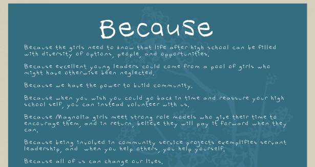 'Because' by The Magnolia Project: Volunteers of America