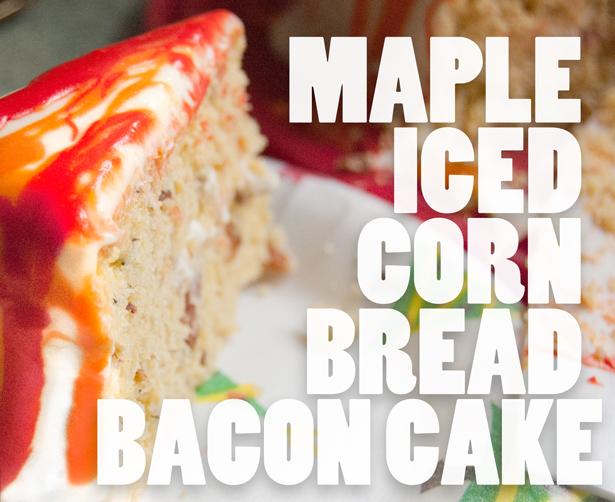 Maple Iced Bacon Corn Bread Cake Recipe